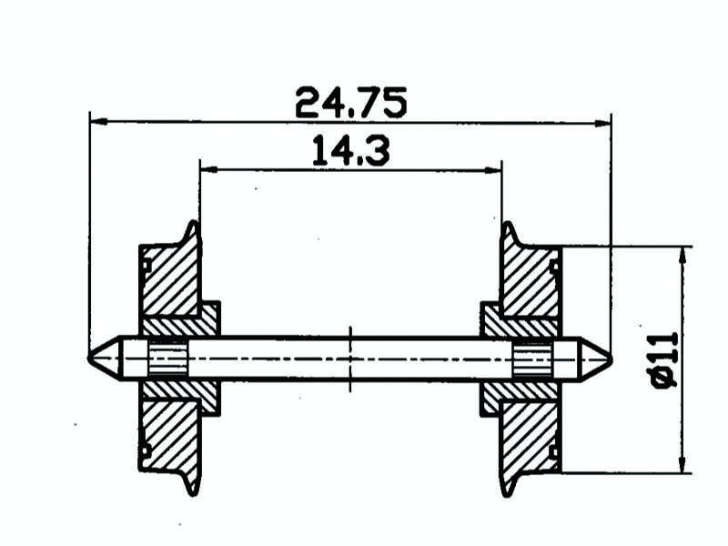 DC-NEM-Normradsatz isoliert 11mm H0