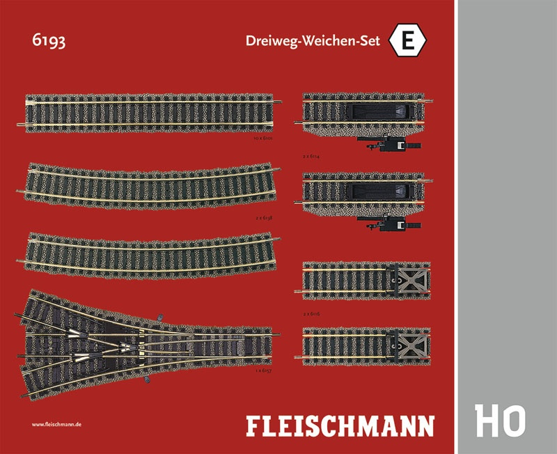Dreiweg-Weichen-Set E Gleiserweiterung Profi-Gleis H0