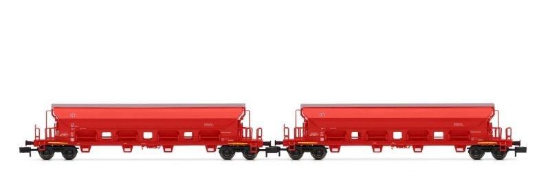 2tlg. Set Schwenkdachwagen Tads verkehrsrot, DB, DC, Spur N