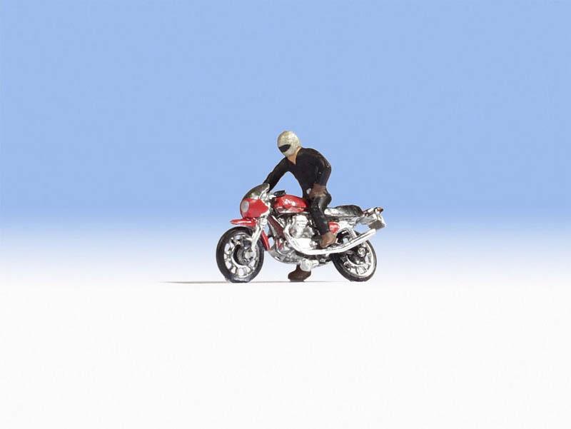 Moto Guzzi 850 Le Mans Figur mit Motorrad, Spur H0