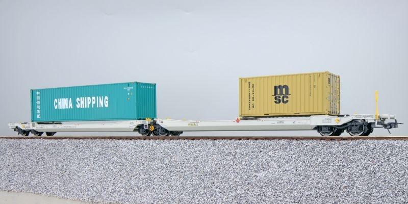 Taschenwagen Sdggmrs NL-RN + Container CCLU/MEDU, DC, H0