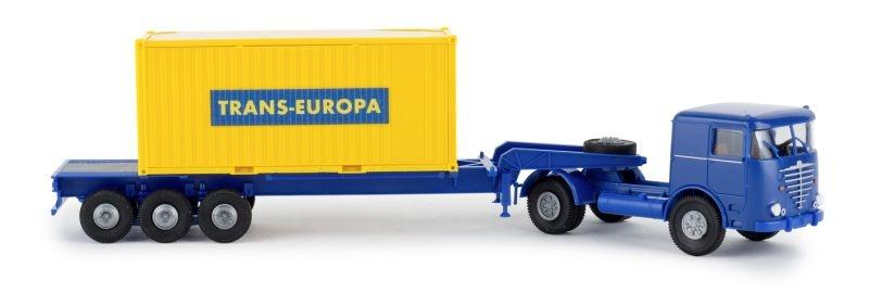 Büssing LS 11 20ft Boxcontainer-SZ Trans Europa, Spur H0