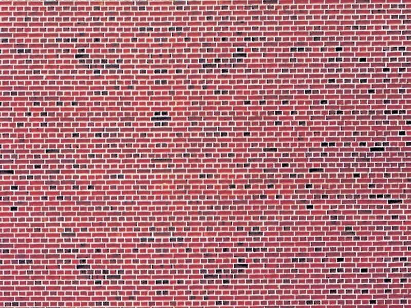 Mauerplatte Klinker aus Karton, 25 x 12,5 cm, Spur N