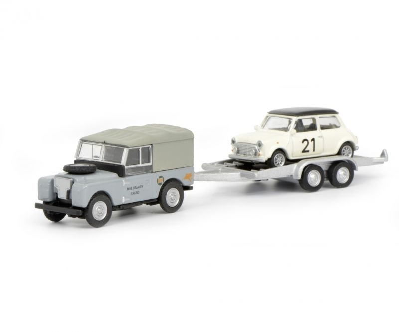 Land Rover I mit Autoanhänger und Mini, 1:87 / Spur H0