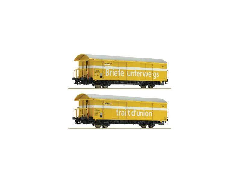 Postgüterwagen Z2, gelb, SBB, 2-teiliges Set,  DC, Spur H0
