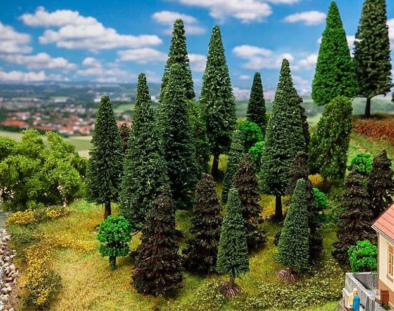 30 Mischwaldbäume, sortiert, H0, TT