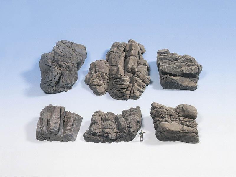 Felsstücke Sandstein aus Struktur-Hartschaum 6 Stück