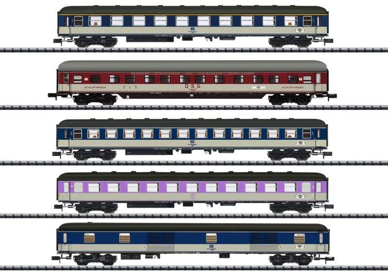 Schnellzugwagen-Set D 730 der DB, DC, Minitrix Spur N