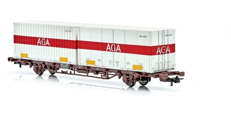Topline Containertragwagen Lgns mit AGA Containern, H0