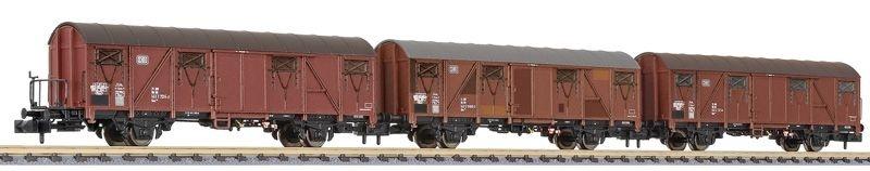 3-tlg. Set Gedeckte Güterwagen Gbs 253, DB, Ep. IV, Spur N