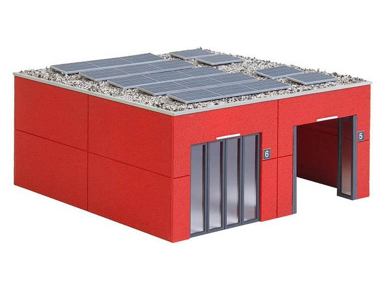 Fahrzeughalle Feuerwehr Bausatz H0