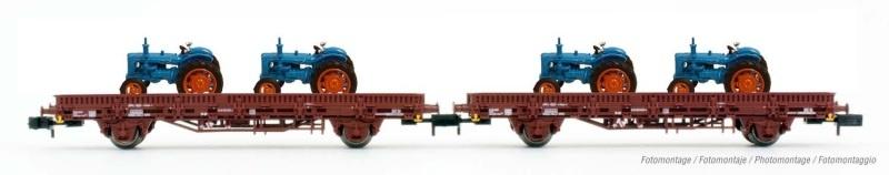 2er-Set Flachwagen, beladen mit 4 Taktoren, FS, Spur N