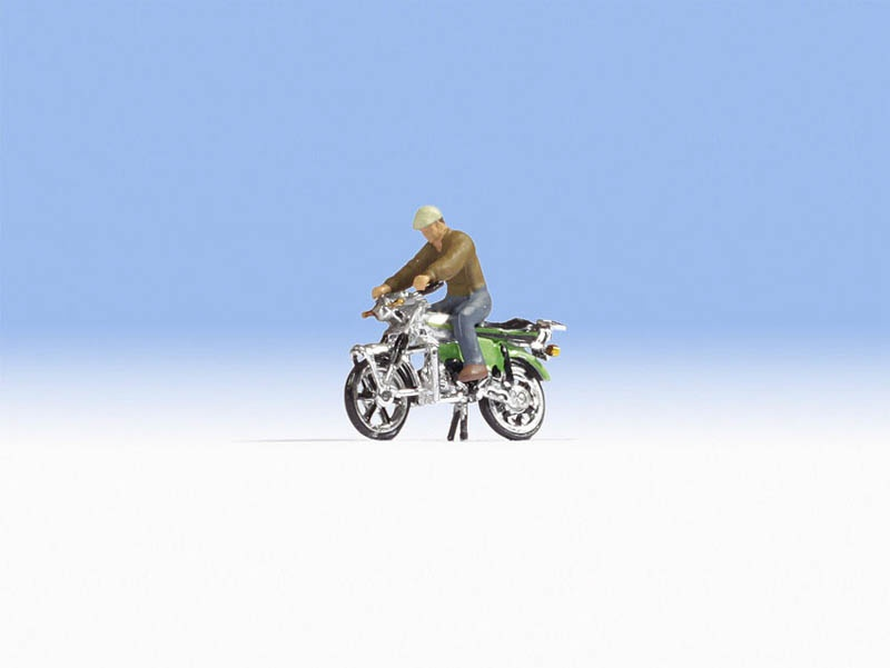 Kreidler Florett RS Figur mit Motorrad, Spur H0