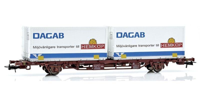 Topline Containertragwagen Lgjns mit 2 Dagab Containern,H0