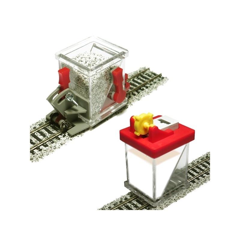 Schotterverteiler auf Rollen & Schotterkleber-Applikator, H0