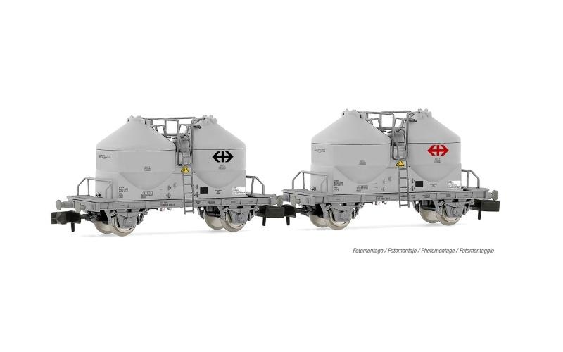 2-tlg. Set 2-achsige Zementsilowagen, grau, SBB, Spur N