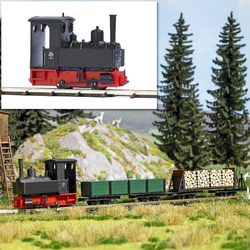Dampflok Decauville Typ 3 schwarz, Spur H0f Feldbahn