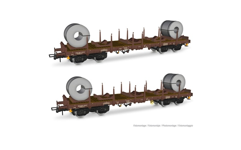 2er-Set, FS, 4achs. Flachwagen Rhmms-x, Coils, Ep.V, DC, H0