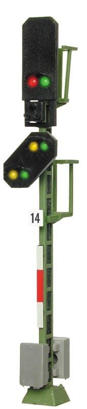 Licht-Blocksignal mit Vorsignal, mit Funktion, Spur H0