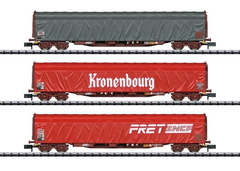 Schiebeplanwagen-Set Rils SNC, Minitrix Spur N