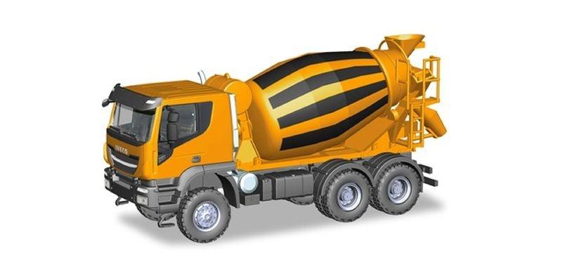 Iveco Trakker 6x6 Betonmischer-LKW, orange, 1:87/H0