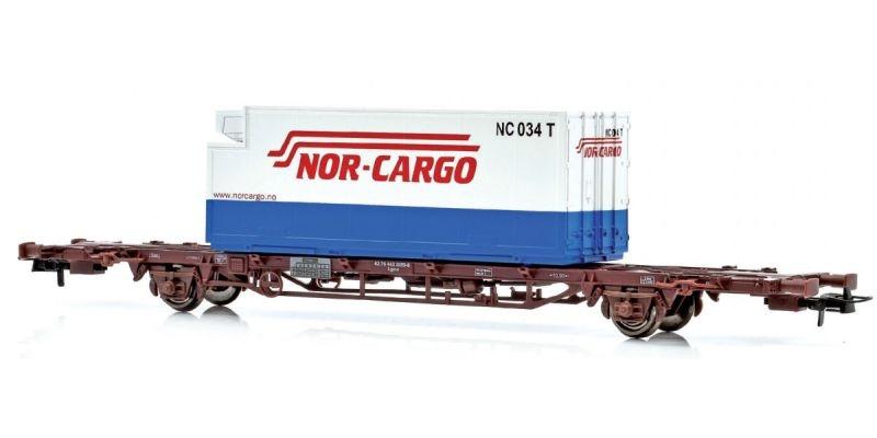Topline Containertragwagen Lgns mit Nor-Cargo Container,H0