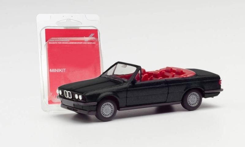 Minikit BMW 3er E30 Cabrio, schwarz, 1:87 / Spur H0