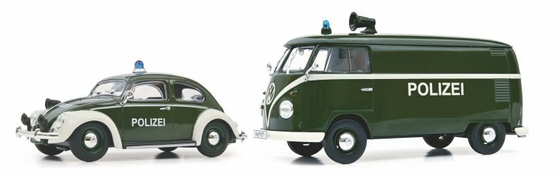 2er Set Polizei, VW Käfer und VW T1 Kasten 1:32, MHI