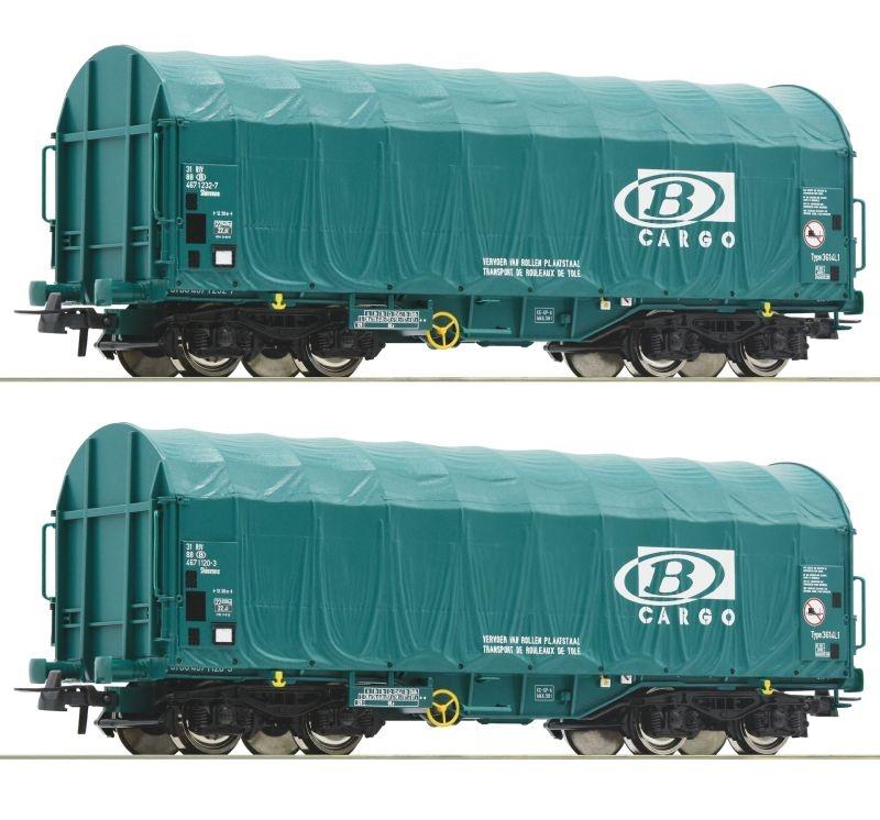 2-tlg. Set: Schiebeplanenwagen Shimmns der SNCB, DC, Spur H0