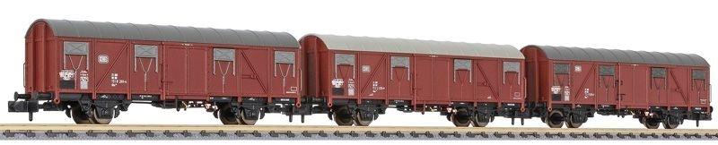 3-tlg. Set Gedeckte Güterwagen Gbs 245, DB, Ep. IV, Spur N