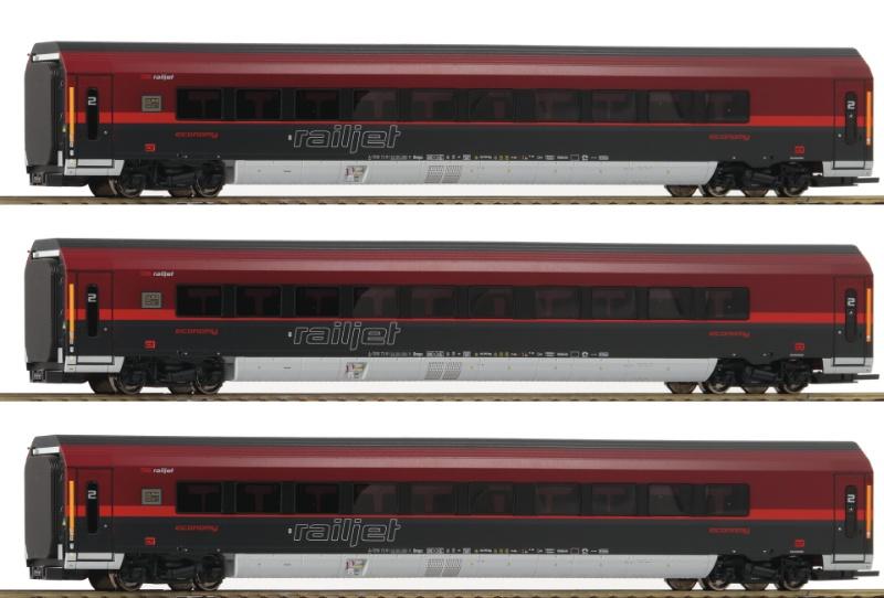 3-teiliges Wagenset Railjet der ÖBB, Spur H0