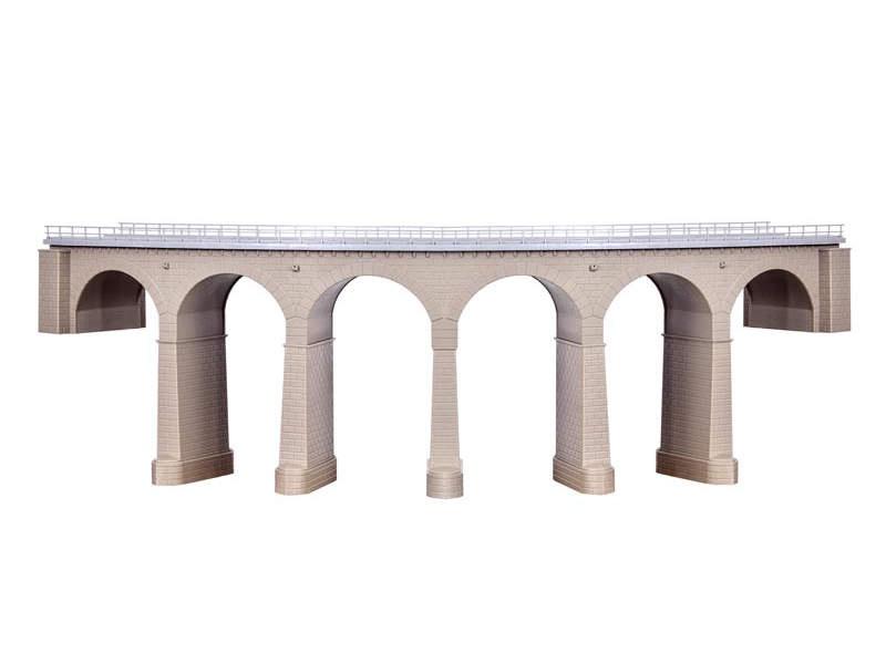 Riedberg-Viadukt mit Eisbrecherpfeilern gebogen,1-gleisig,H0