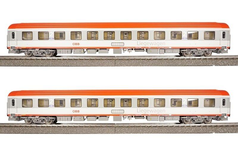 2tlg. Set Liegewagen Bcmz 59-90 der ÖBB, DC, Spur H0