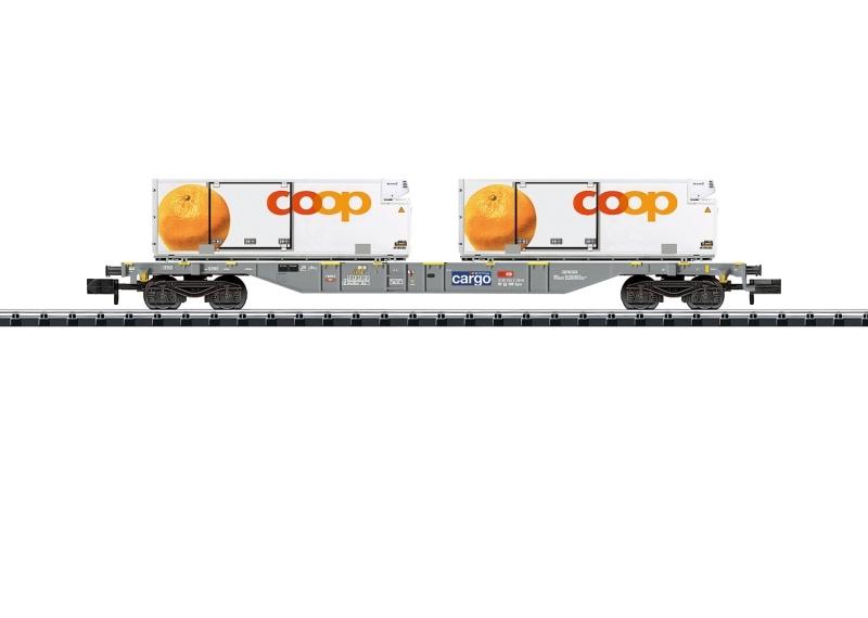 Containertragwagen mit coop Kühlcontainern, DC, Minitrix N