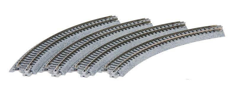 Gleis gebogen R 216-45°, 4 Stück, Spur N