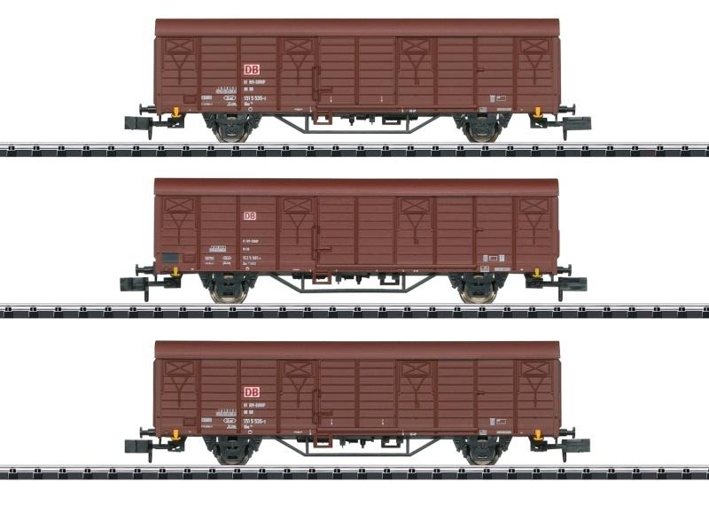 Güterwagen-Set Bauart Gbs 258 DB AG, Minitrix Spur N