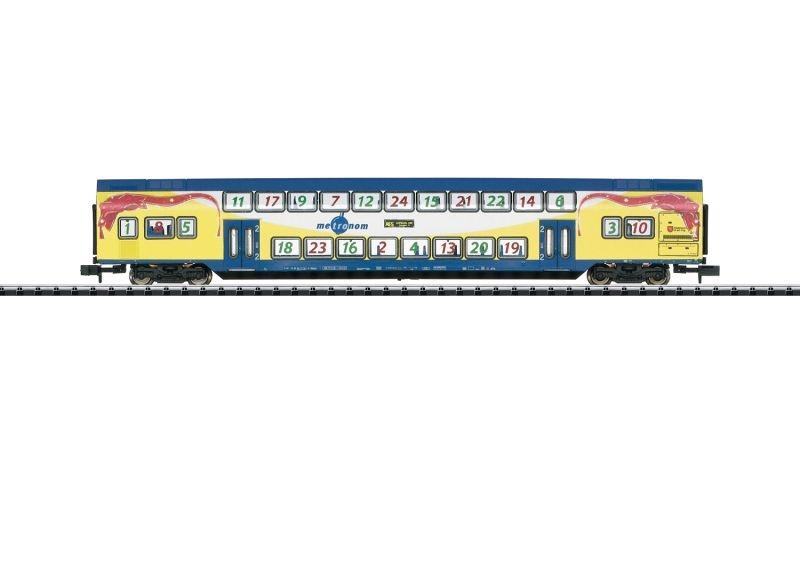 Doppelstockwagen DBdpza 2. Kl. der Metronom, Minitrix Spur N