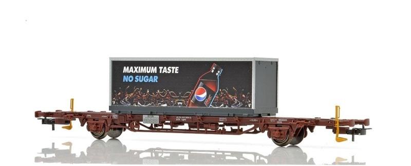 Topline CargoNet Lgns Containertragwagen, Pepsi Max, H0