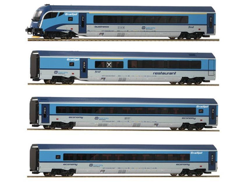 Wagenset Railjet der CD, 4-teilig, Epoche VI, Spur H0