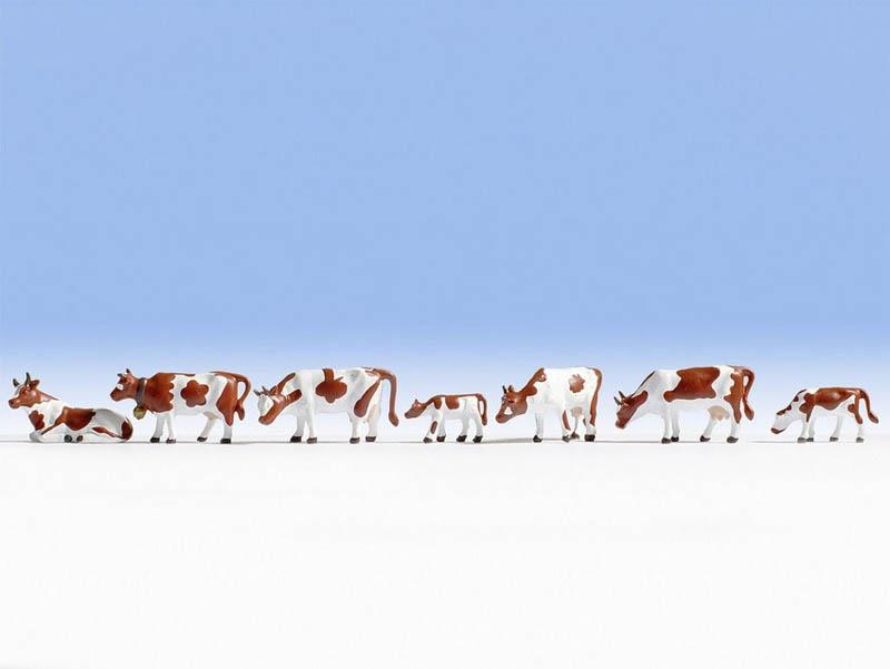 Kühe, braun-weiß Figuren Spur H0