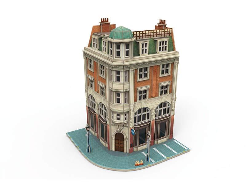 Start up - 3D Gebäude-Puzzle Eckhaus mit Bank Bausatz H0
