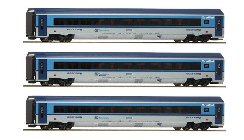 Personenwagen-Set Railjet der CD, 3-tlg., AC-Version, H0