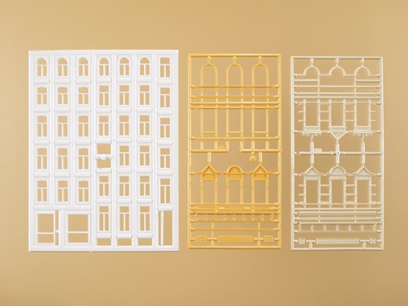 Fenster und Gewände für Wohngebäude, Bausatz, Spur H0
