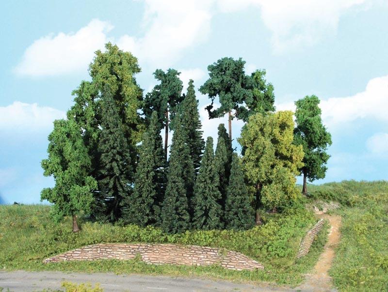 Mischwald H0, 20 Bäume + Tannen 7-18 cm