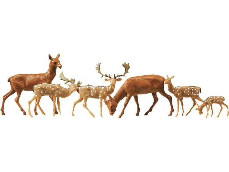 Damhirsche + Rotwild, 12 Stück Figuren N
