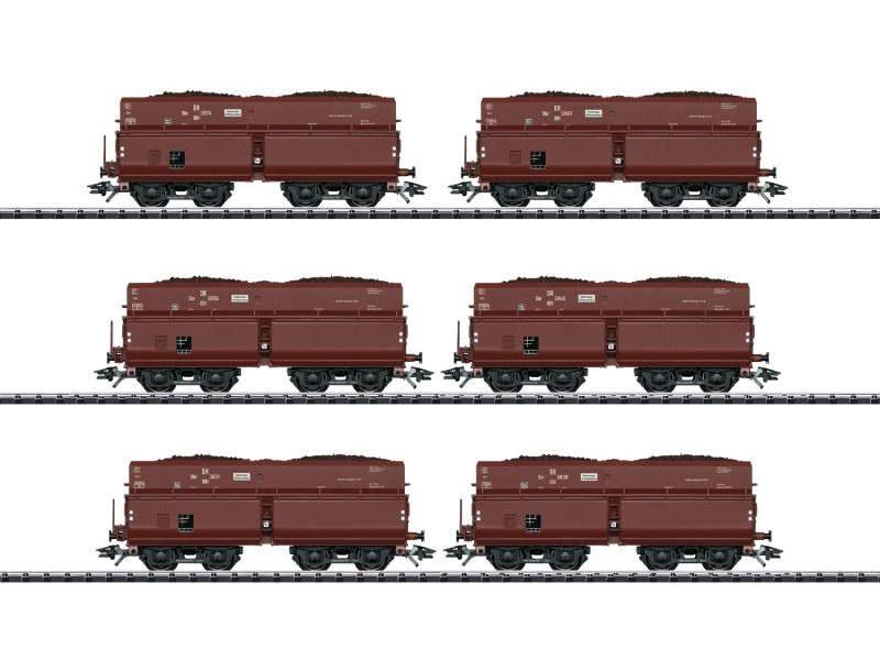Selbstentladewagen-Set mit 6 Wagen OOt der DR, Spur H0
