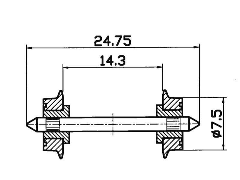 DC-NEM-Normradsatz 7,5mm isoliert H0
