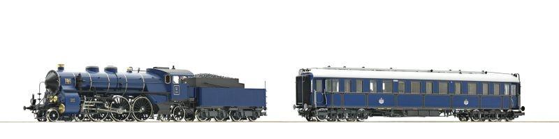 2-tlg. Set: Dampflokomotive S 3/6 und Salonwagen, AC, H0