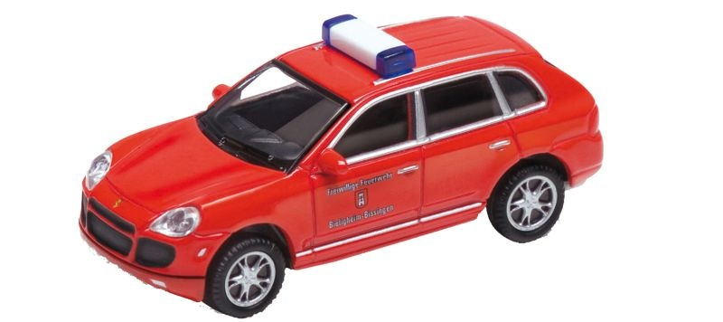 Porsche Cayenne Turbo Feuerwehr, Fertigmodell, Spur H0