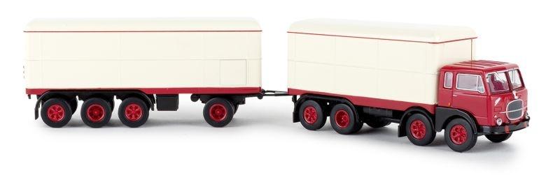 Fiat 690 Millepiedi rot, weiss, Kofferzug, 1:87 / H0